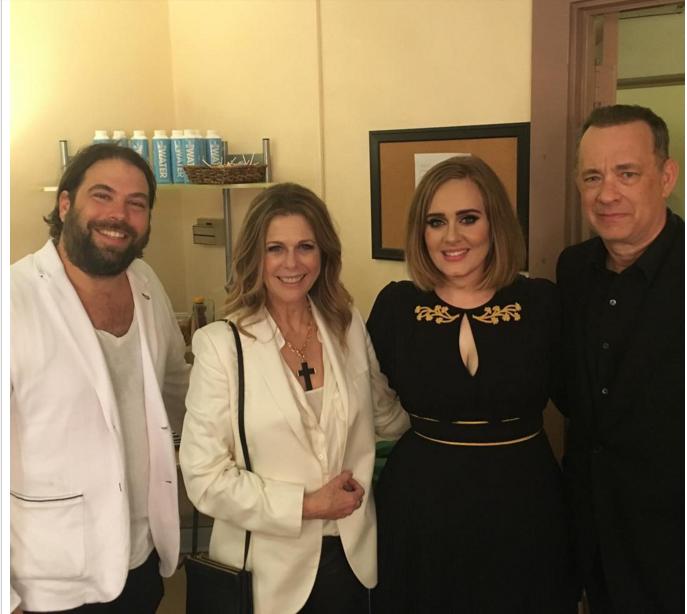 celebrities hanks rita wilson speechless adele concert